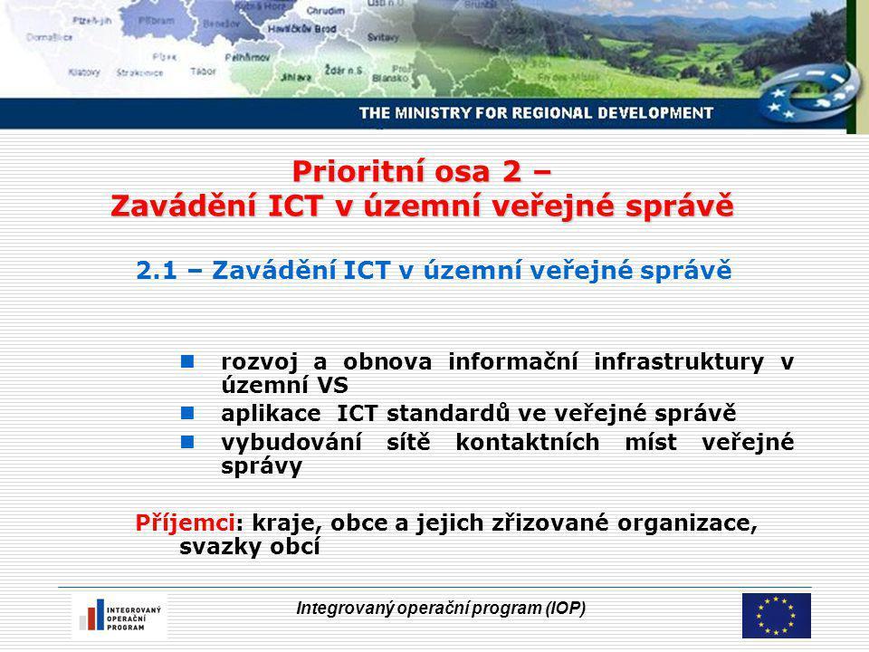 Integrovaný operační program (IOP) Prioritní osa 2 – Zavádění ICT v územní veřejné správě 2.1 – Zavádění ICT v územní veřejné správě rozvoj a obnova informační infrastruktury v územní VS aplikace ICT standardů ve veřejné správě vybudování sítě kontaktních míst veřejné správy Příjemci: kraje, obce a jejich zřizované organizace, svazky obcí