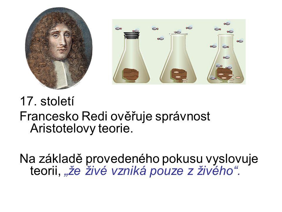 17. století Francesko Redi ověřuje správnost Aristotelovy teorie.