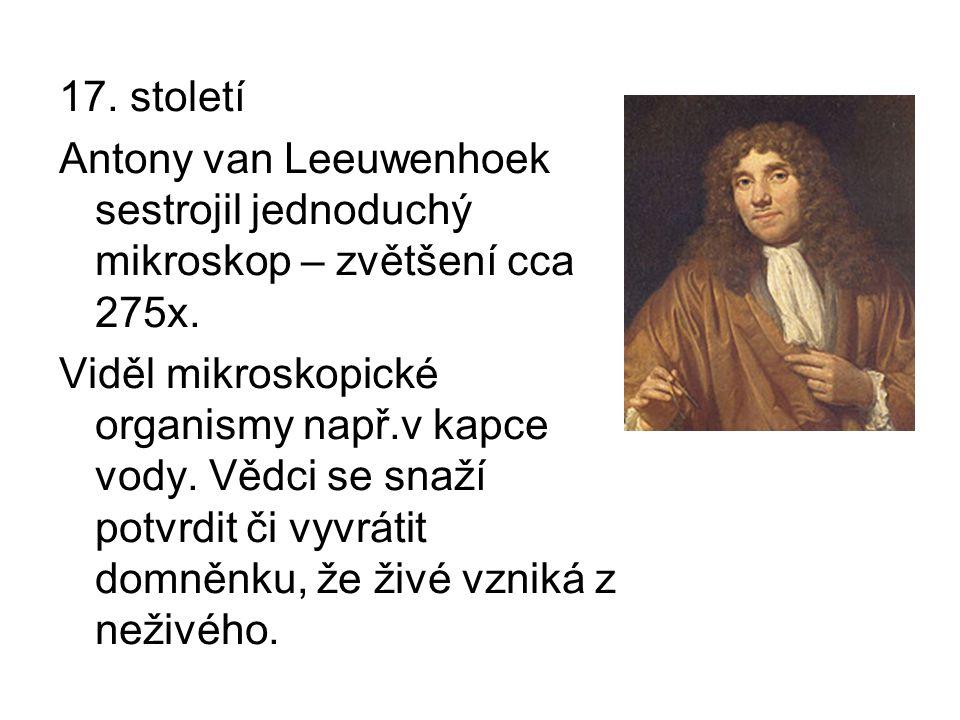 17. století Antony van Leeuwenhoek sestrojil jednoduchý mikroskop – zvětšení cca 275x.