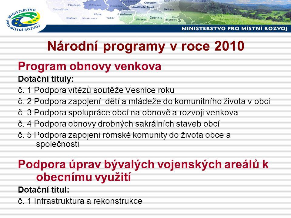 Národní programy v roce 2010 Program obnovy venkova Dotační tituly: č.