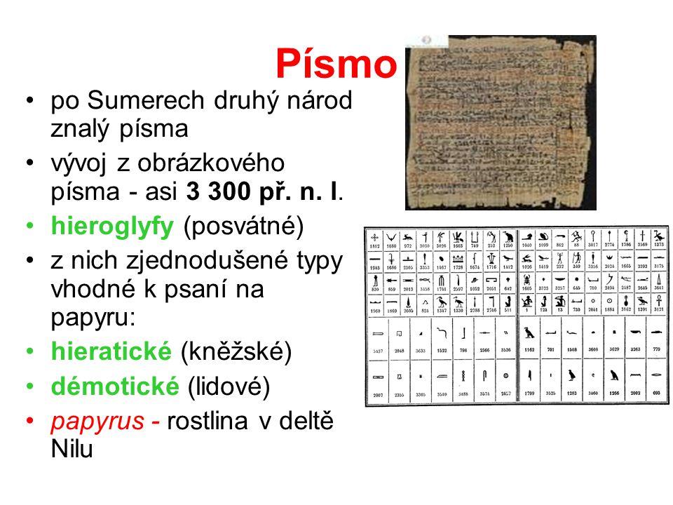 Písmo po Sumerech druhý národ znalý písma vývoj z obrázkového písma - asi 3 300 př. n. l. hieroglyfy (posvátné) z nich zjednodušené typy vhodné k psan