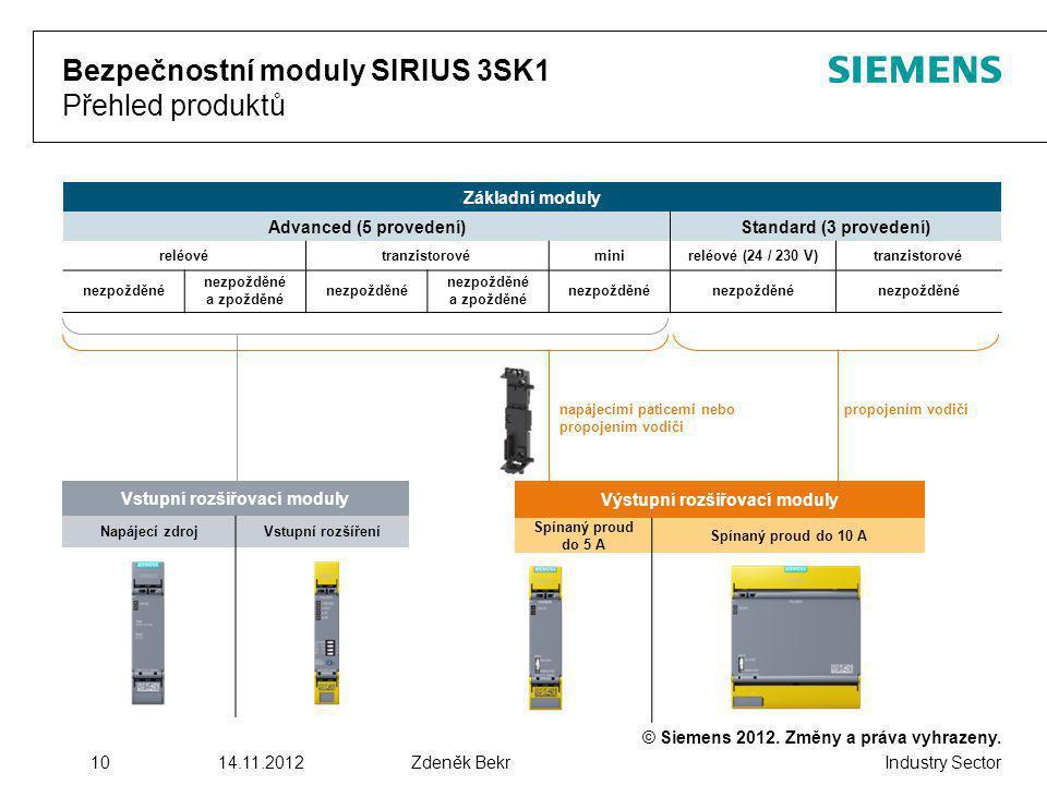 © Siemens 2012. Změny a práva vyhrazeny. Industry Sector 1014.11.2012Zdeněk Bekr Bezpečnostní moduly SIRIUS 3SK1 Přehled produktů Základní moduly Adva
