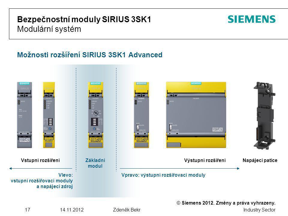 © Siemens 2012. Změny a práva vyhrazeny. Industry Sector 1714.11.2012Zdeněk Bekr Bezpečnostní moduly SIRIUS 3SK1 Modulární systém Možnosti rozšíření S