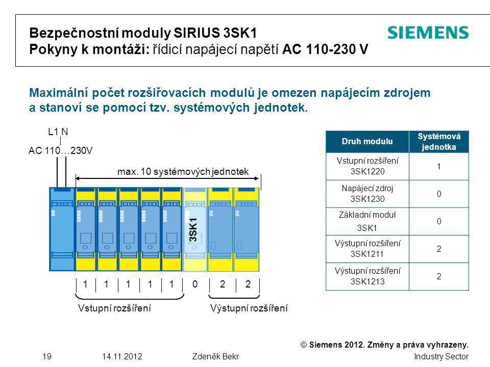 © Siemens 2012. Změny a práva vyhrazeny. Industry Sector 1914.11.2012Zdeněk Bekr Bezpečnostní moduly SIRIUS 3SK1 Pokyny k montáži: řídicí napájecí nap