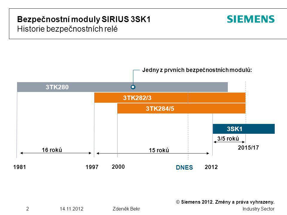 Industry Sector 214.11.2012Zdeněk Bekr Bezpečnostní moduly SIRIUS 3SK1 Historie bezpečnostních relé 3TK280 3TK282/3 3SK1 198119972012 2015/17 16 roků