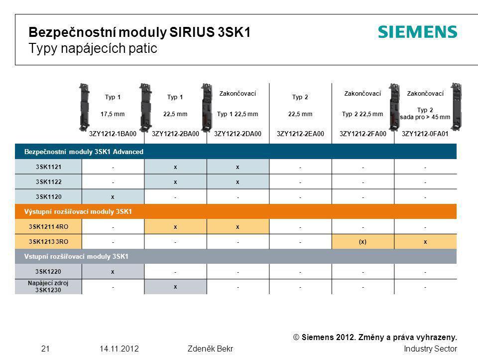 © Siemens 2012. Změny a práva vyhrazeny. Industry Sector 2114.11.2012Zdeněk Bekr Bezpečnostní moduly SIRIUS 3SK1 Typy napájecích patic Typ 1 Zakončova