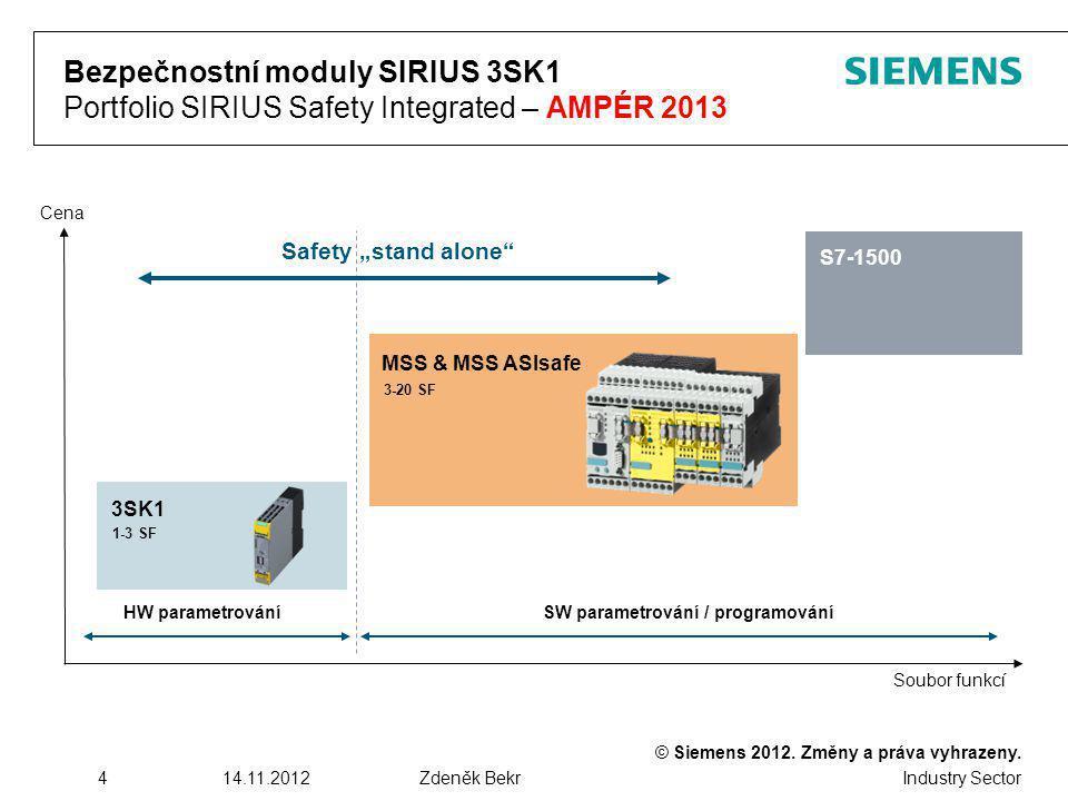 © Siemens 2012. Změny a práva vyhrazeny. Industry Sector 414.11.2012Zdeněk Bekr Bezpečnostní moduly SIRIUS 3SK1 Portfolio SIRIUS Safety Integrated – A