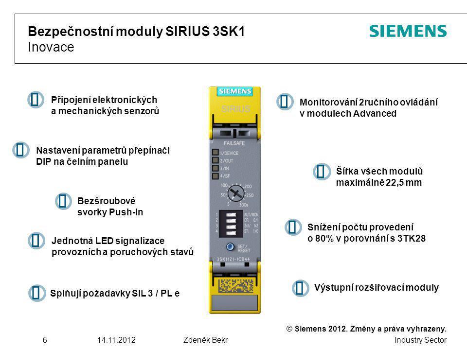 © Siemens 2012. Změny a práva vyhrazeny. Industry Sector 614.11.2012Zdeněk Bekr Bezpečnostní moduly SIRIUS 3SK1 Inovace Nastavení parametrů přepínači