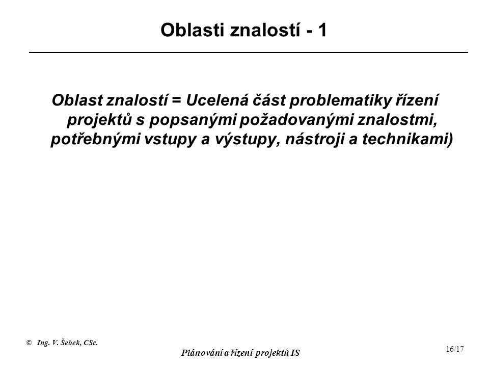 © Ing. V. Šebek, CSc. Plánování a řízení projektů IS 16/17 Oblasti znalostí - 1 Oblast znalostí = Ucelená část problematiky řízení projektů s popsaným