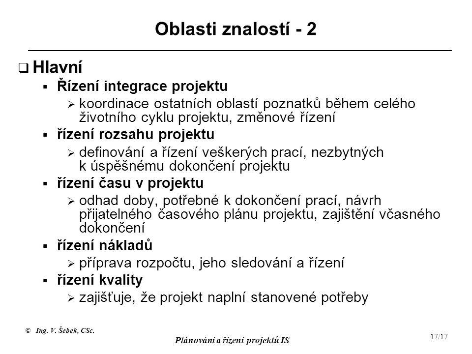 © Ing. V. Šebek, CSc. Plánování a řízení projektů IS 17/17 Oblasti znalostí - 2  Hlavní  Řízení integrace projektu  koordinace ostatních oblastí po