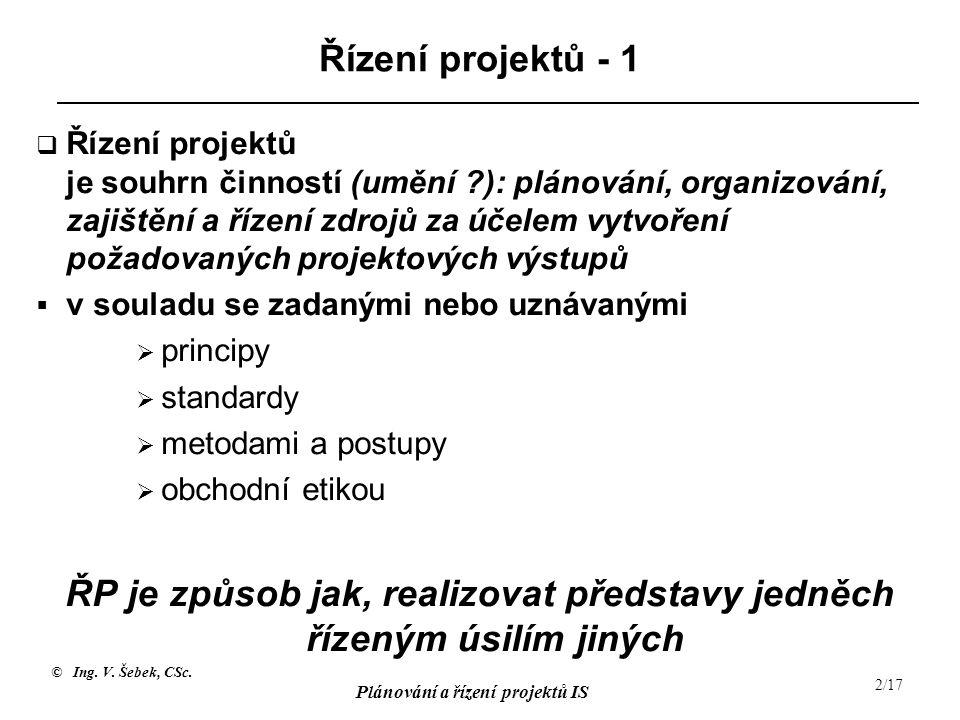 © Ing. V. Šebek, CSc. Plánování a řízení projektů IS 2/17 Řízení projektů - 1  Řízení projektů je souhrn činností (umění ?): plánování, organizování,