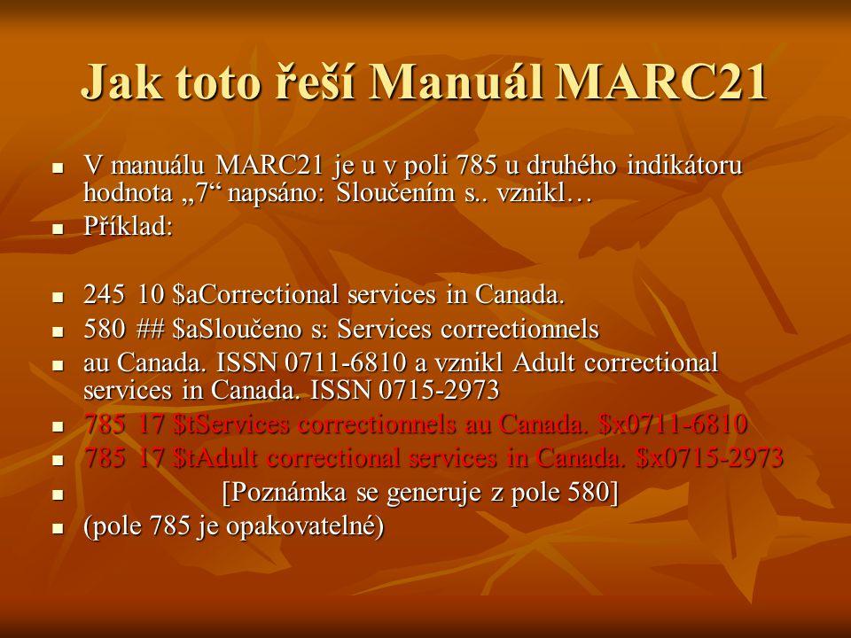 """Jak toto řeší Manuál MARC21 V manuálu MARC21 je u v poli 785 u druhého indikátoru hodnota """"7 napsáno: Sloučením s.."""