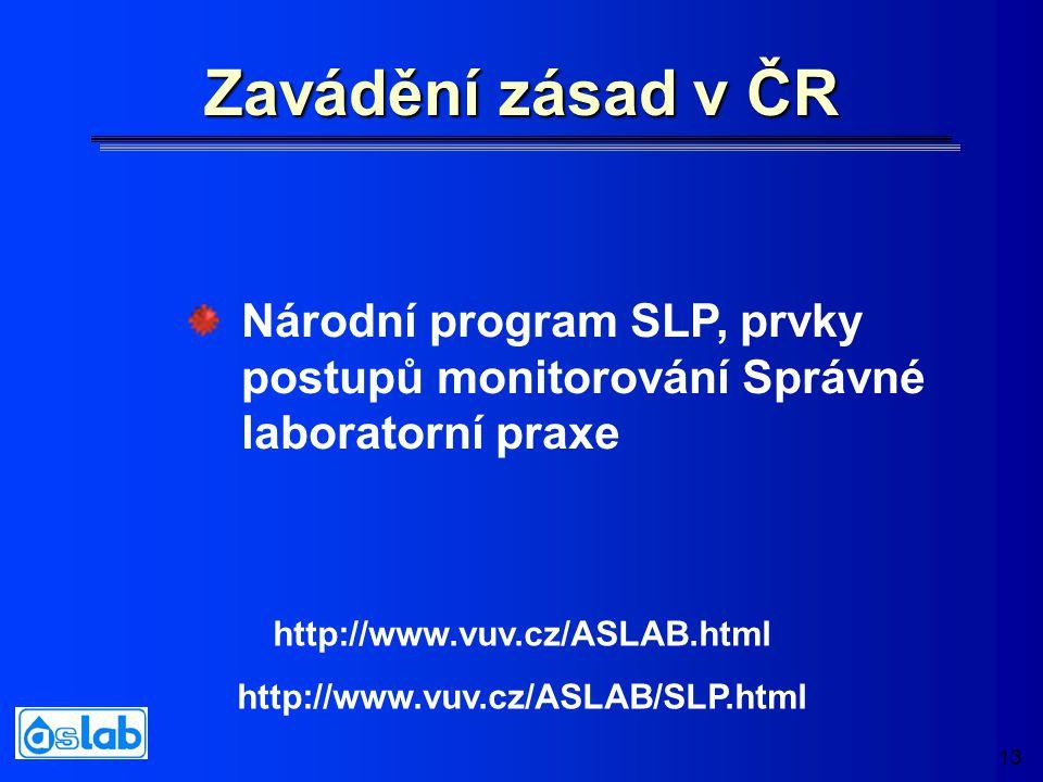 13 Zavádění zásad v ČR Národní program SLP, prvky postupů monitorování Správné laboratorní praxe http://www.vuv.cz/ASLAB.html http://www.vuv.cz/ASLAB/SLP.html