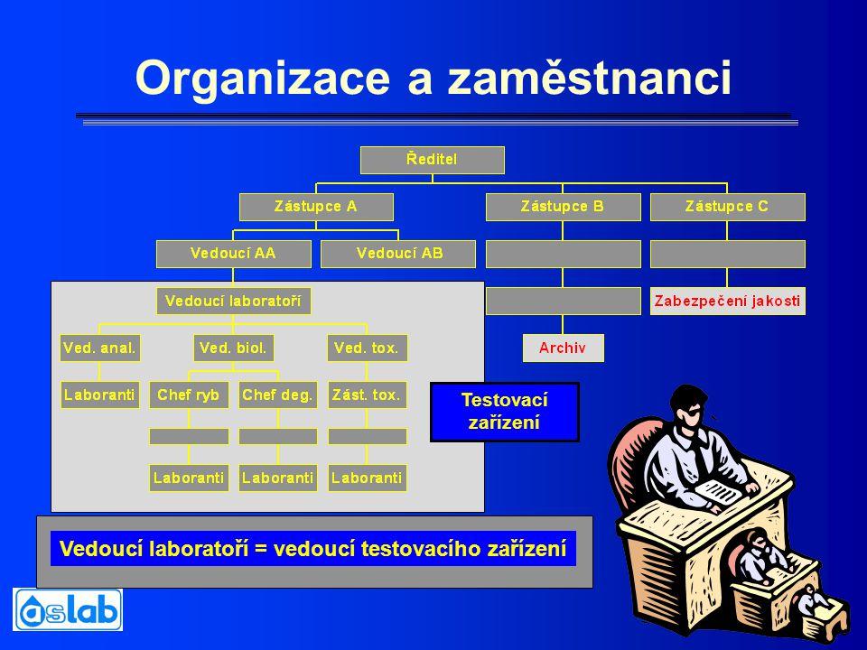 18 Organizace a zaměstnanci Vedoucí laboratoří = vedoucí testovacího zařízení Testovací zařízení