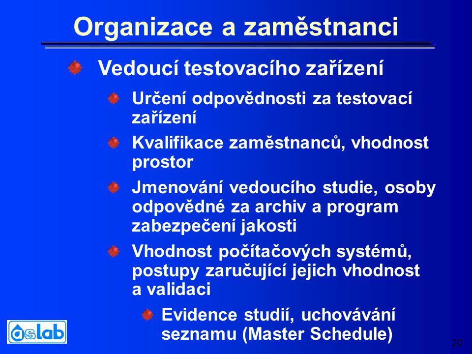 20 Organizace a zaměstnanci Určení odpovědnosti za testovací zařízení Kvalifikace zaměstnanců, vhodnost prostor Jmenování vedoucího studie, osoby odpo