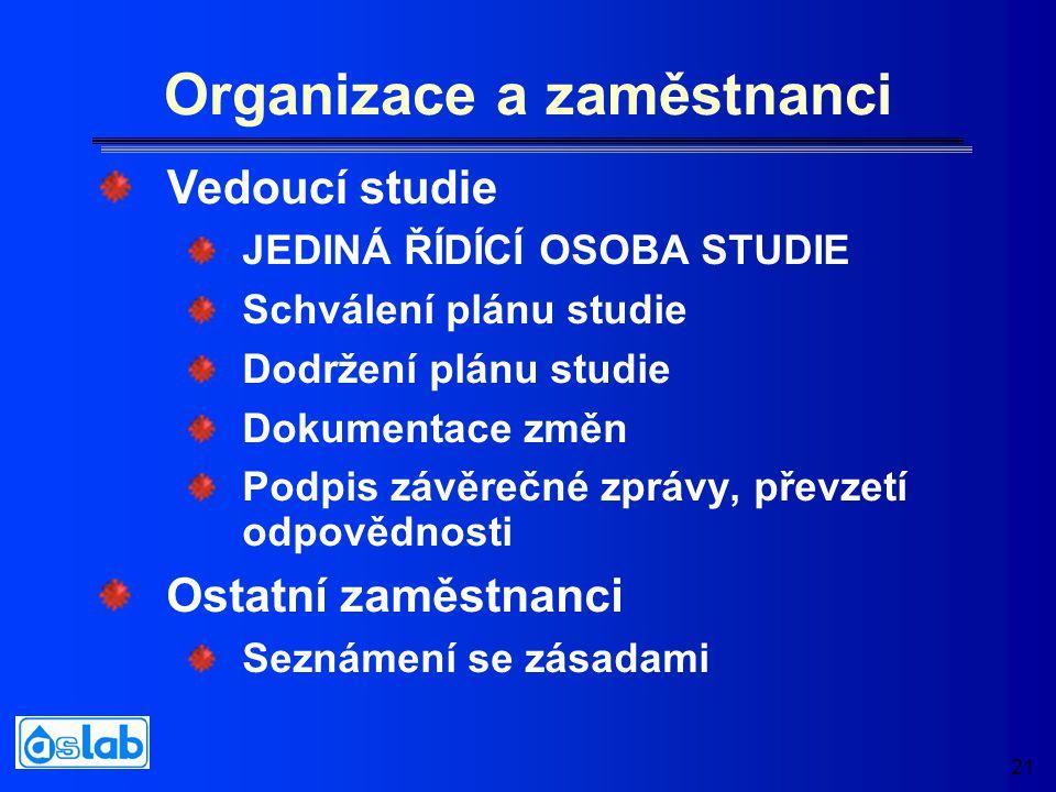 21 Organizace a zaměstnanci JEDINÁ ŘÍDÍCÍ OSOBA STUDIE Schválení plánu studie Dodržení plánu studie Dokumentace změn Podpis závěrečné zprávy, převzetí