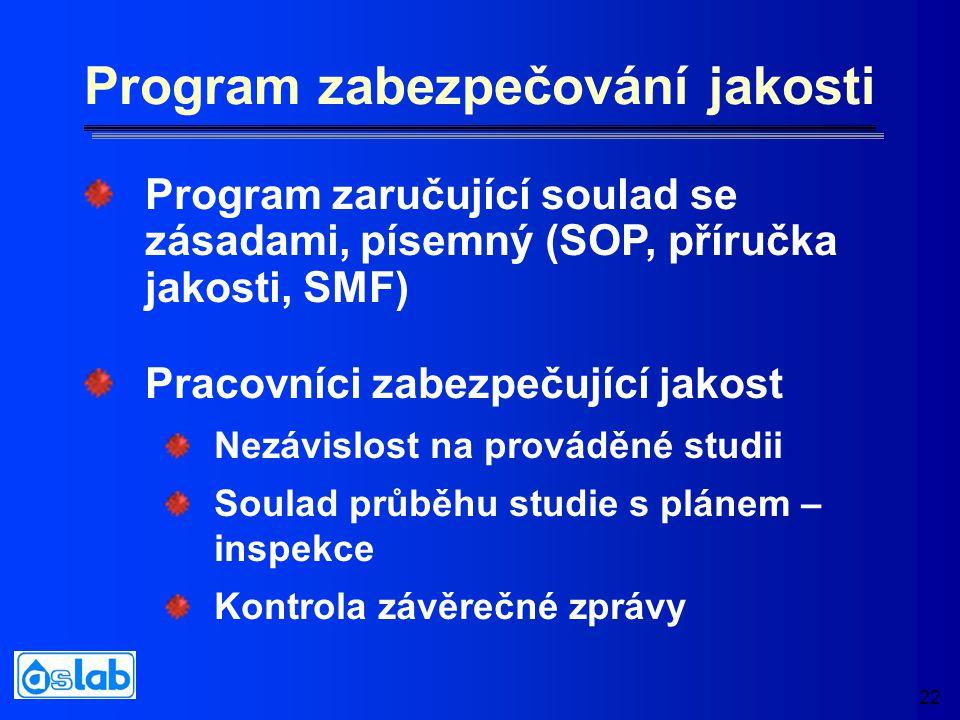 22 Program zabezpečování jakosti Pracovníci zabezpečující jakost Nezávislost na prováděné studii Soulad průběhu studie s plánem – inspekce Kontrola závěrečné zprávy Program zaručující soulad se zásadami, písemný (SOP, příručka jakosti, SMF)