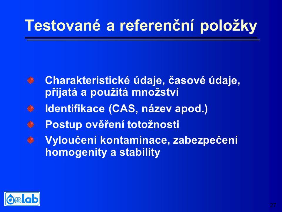 27 Testované a referenční položky Charakteristické údaje, časové údaje, přijatá a použitá množství Identifikace (CAS, název apod.) Postup ověření totožnosti Vyloučení kontaminace, zabezpečení homogenity a stability