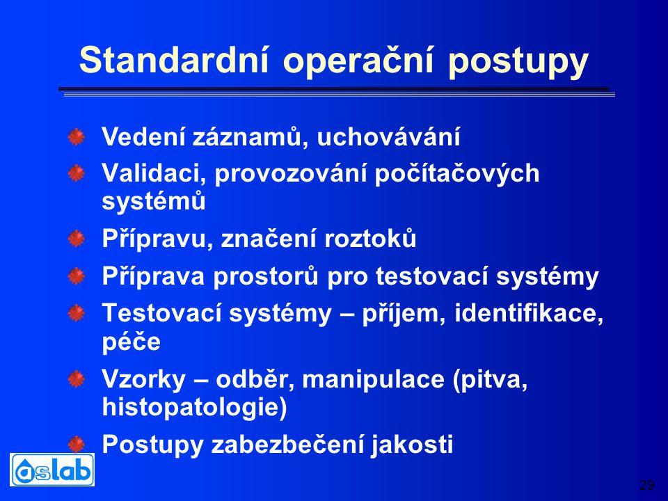 29 Standardní operační postupy Validaci, provozování počítačových systémů Přípravu, značení roztoků Příprava prostorů pro testovací systémy Testovací