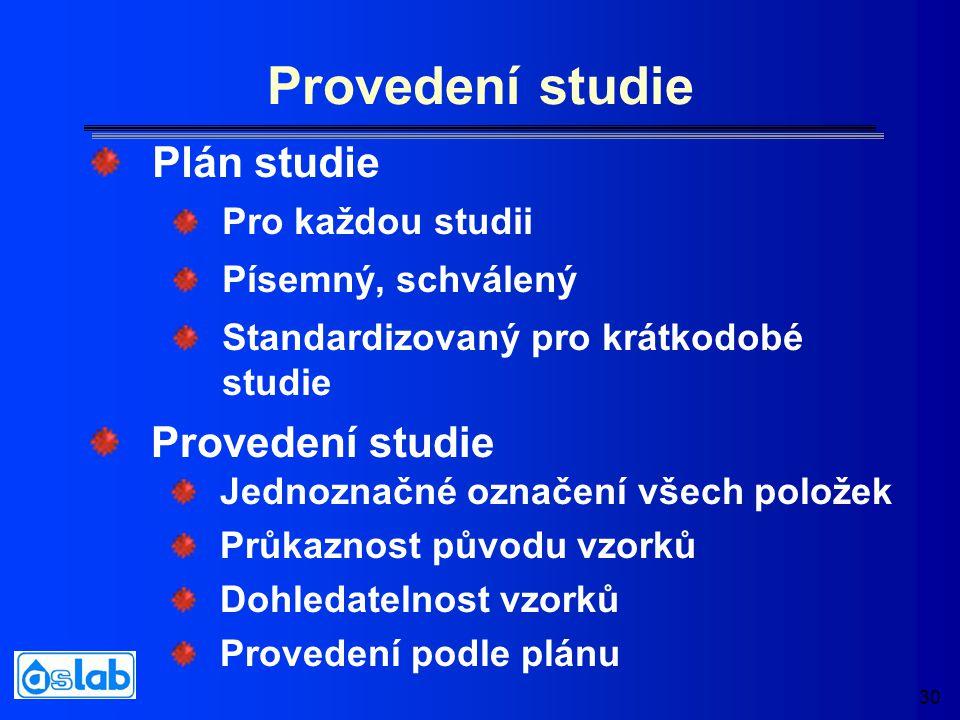30 Provedení studie Pro každou studii Písemný, schválený Standardizovaný pro krátkodobé studie Jednoznačné označení všech položek Průkaznost původu vzorků Dohledatelnost vzorků Provedení podle plánu Plán studie Provedení studie
