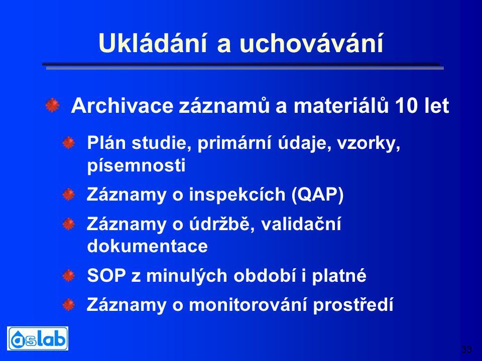 33 Ukládání a uchovávání Plán studie, primární údaje, vzorky, písemnosti Záznamy o inspekcích (QAP) Záznamy o údržbě, validační dokumentace SOP z minulých období i platné Záznamy o monitorování prostředí Archivace záznamů a materiálů 10 let