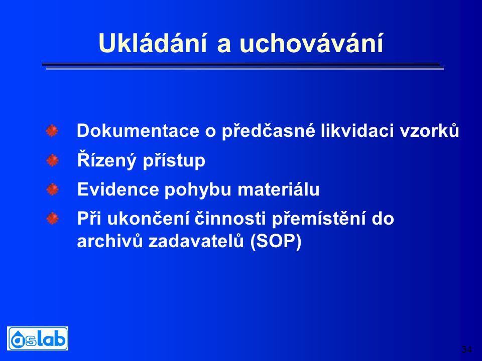 34 Ukládání a uchovávání Řízený přístup Evidence pohybu materiálu Při ukončení činnosti přemístění do archivů zadavatelů (SOP) Dokumentace o předčasné