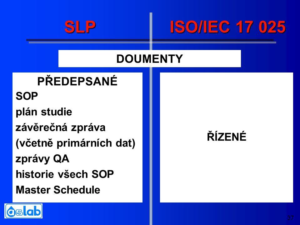 37 SLP PŘEDEPSANÉ SOP plán studie závěrečná zpráva (včetně primárních dat) zprávy QA historie všech SOP Master Schedule ŘÍZENÉ ISO/IEC 17 025 DOUMENTY