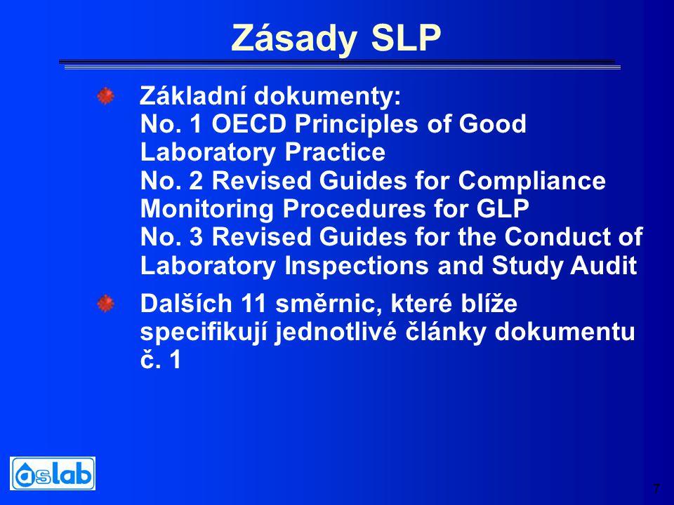 7 Zásady SLP Základní dokumenty: No. 1 OECD Principles of Good Laboratory Practice No. 2 Revised Guides for Compliance Monitoring Procedures for GLP N