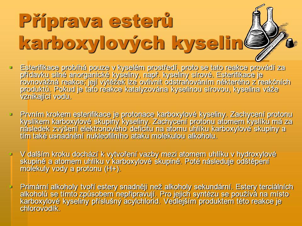 Příprava esterů karboxylových kyselin  Esterifikace probíhá pouze v kyselém prostředí, proto se tato reakce provádí za přídavku silné anorganické kys