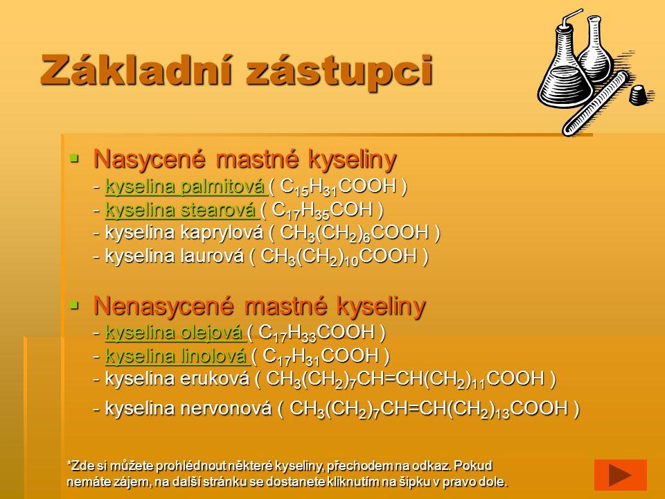 Kyselina palmitová Vlastnosti a využití: Je to vyšší mastná kyselina, je tudíž obsažena v tucích.