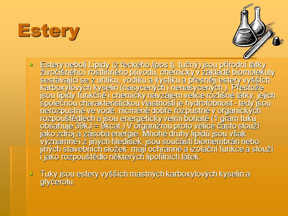 Estery  Estery neboli Lipidy (z řeckého lipos tj. tučný) jsou přírodní látky živočišného i rostlinného původu, chemicky v základě biomolekuly sestáva
