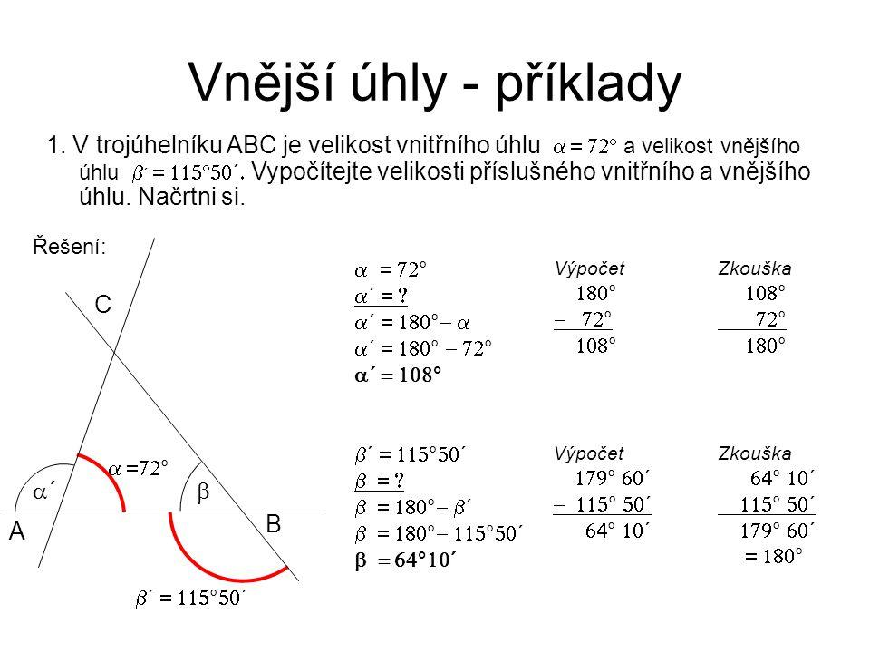 Vnější úhly - příklady 1.