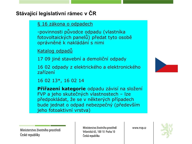 Stávající legislativní rámec v ČR § 16 zákona o odpadech -povinnosti původce odpadu (vlastníka fotovoltaických panelů) předat tyto osobě oprávněné k nakládání s nimi Katalog odpadů 17 09 jiné stavební a demoliční odpady 16 02 odpady z elektrického a elektronického zařízení 16 02 13*, 16 02 14 Přiřazení kategorie odpadu závisí na složení FVP a jeho skutečných vlastnostech – lze předpokládat, že se v některých případech bude jednat o odpad nebezpečný (především jeho fotoaktivní vrstva)