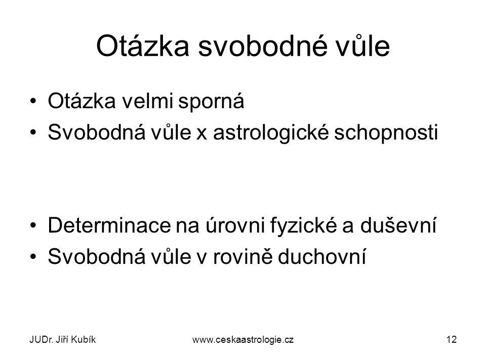 JUDr. Jiří Kubíkwww.ceskaastrologie.cz12 Otázka svobodné vůle Otázka velmi sporná Svobodná vůle x astrologické schopnosti Determinace na úrovni fyzick