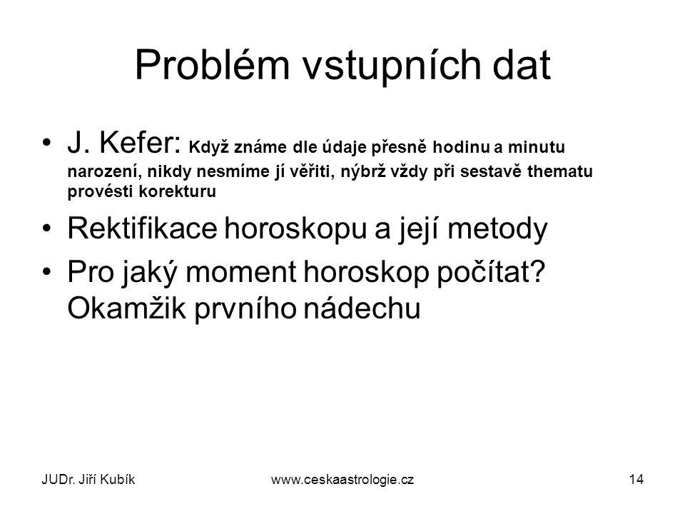 JUDr. Jiří Kubíkwww.ceskaastrologie.cz14 Problém vstupních dat J. Kefer: Když známe dle údaje přesně hodinu a minutu narození, nikdy nesmíme jí věřiti