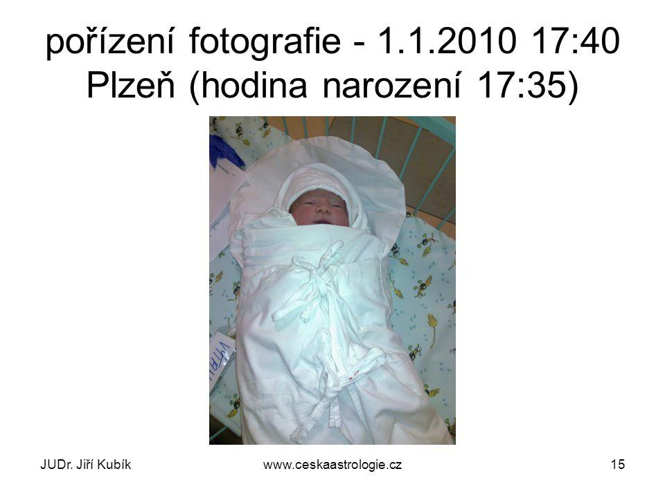 JUDr. Jiří Kubíkwww.ceskaastrologie.cz15 pořízení fotografie - 1.1.2010 17:40 Plzeň (hodina narození 17:35)