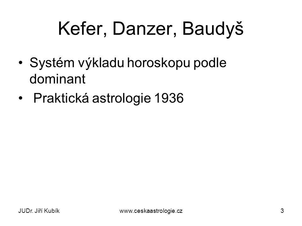 JUDr. Jiří Kubíkwww.ceskaastrologie.cz3 Kefer, Danzer, Baudyš Systém výkladu horoskopu podle dominant Praktická astrologie 1936