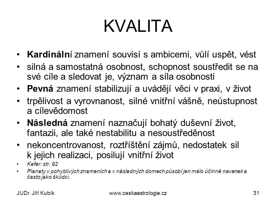JUDr. Jiří Kubíkwww.ceskaastrologie.cz31 KVALITA Kardinální znamení souvisí s ambicemi, vůlí uspět, vést silná a samostatná osobnost, schopnost soustř