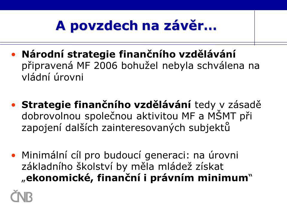 A povzdech na závěr… Národní strategie finančního vzdělávání připravená MF 2006 bohužel nebyla schválena na vládní úrovni Strategie finančního vzděláv