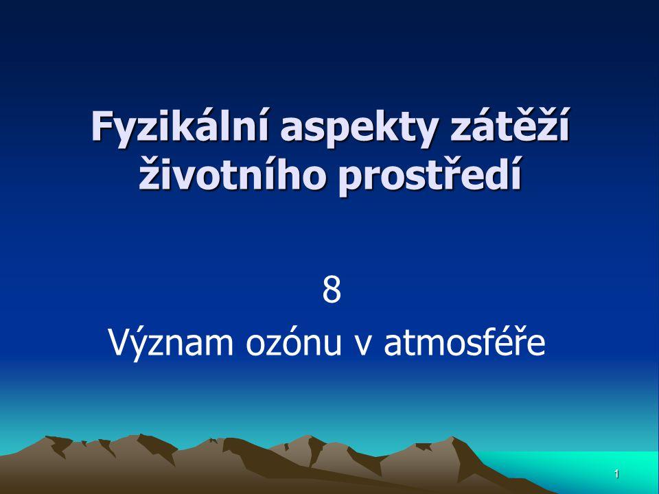 1 Fyzikální aspekty zátěží životního prostředí 8 Význam ozónu v atmosféře
