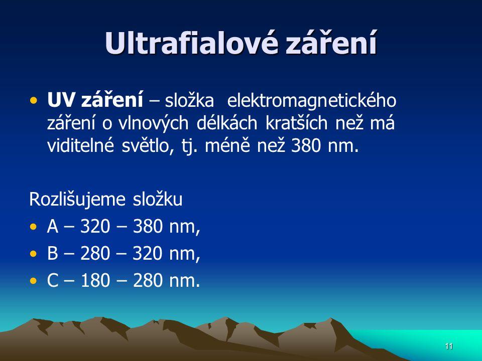 11 Ultrafialové záření UV záření – složka elektromagnetického záření o vlnových délkách kratších než má viditelné světlo, tj. méně než 380 nm. Rozlišu