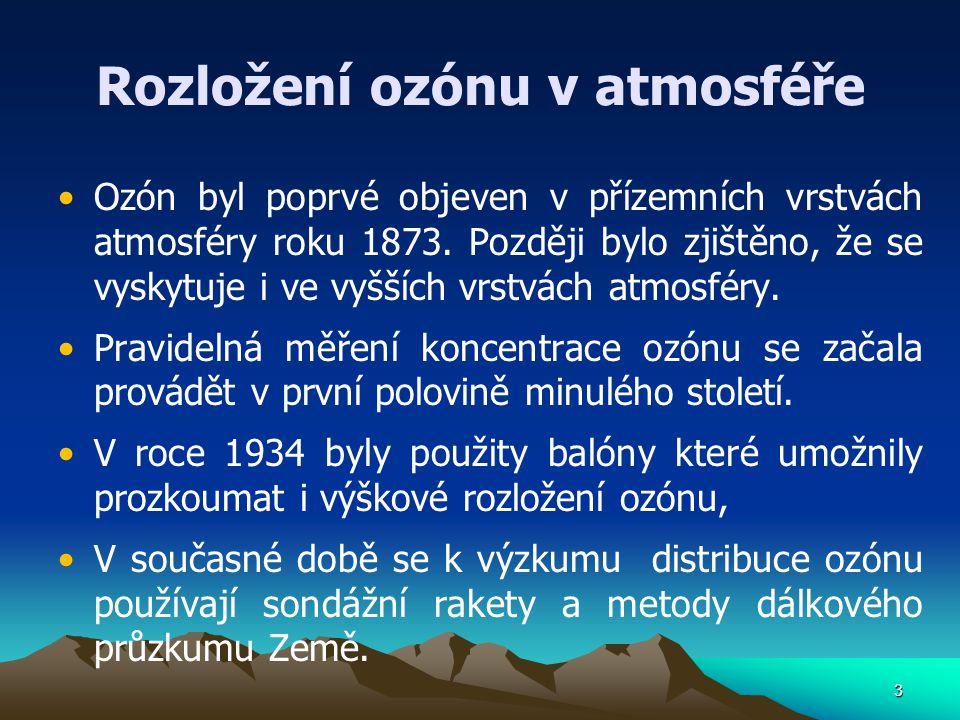 3 Rozložení ozónu v atmosféře Ozón byl poprvé objeven v přízemních vrstvách atmosféry roku 1873. Později bylo zjištěno, že se vyskytuje i ve vyšších v