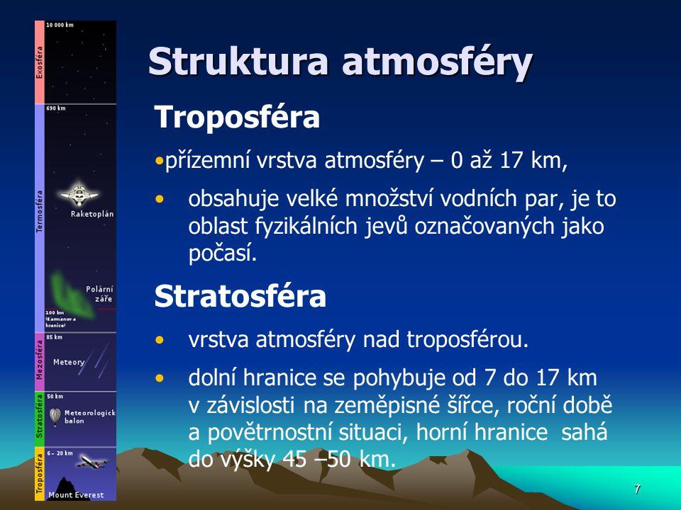 7 Struktura atmosféry Troposféra přízemní vrstva atmosféry – 0 až 17 km, obsahuje velké množství vodních par, je to oblast fyzikálních jevů označovaný