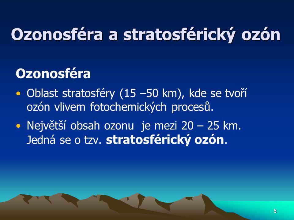 8 Ozonosféra a stratosférický ozón Ozonosféra Oblast stratosféry (15 –50 km), kde se tvoří ozón vlivem fotochemických procesů. Největší obsah ozonu je