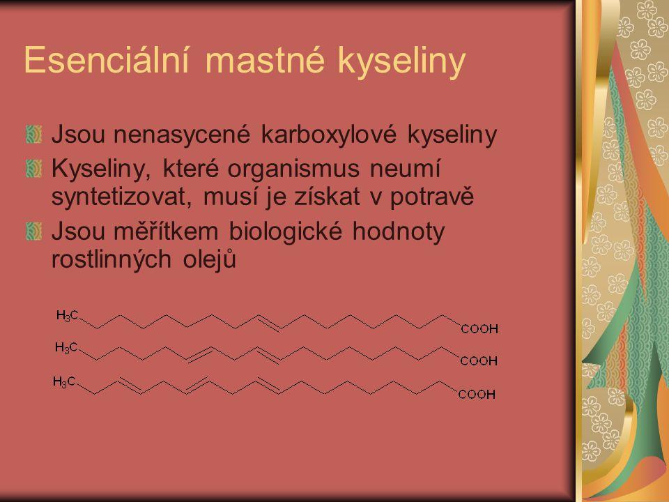 Esenciální mastné kyseliny Jsou nenasycené karboxylové kyseliny Kyseliny, které organismus neumí syntetizovat, musí je získat v potravě Jsou měřítkem