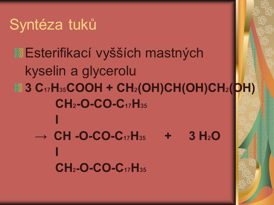 Syntéza tuků Esterifikací vyšších mastných kyselin a glycerolu 3 C 17 H 35 COOH + CH 2 (OH)CH(OH)CH 2 (OH) CH 2 -O-CO-C 17 H 35 I → CH -O-CO-C 17 H 35