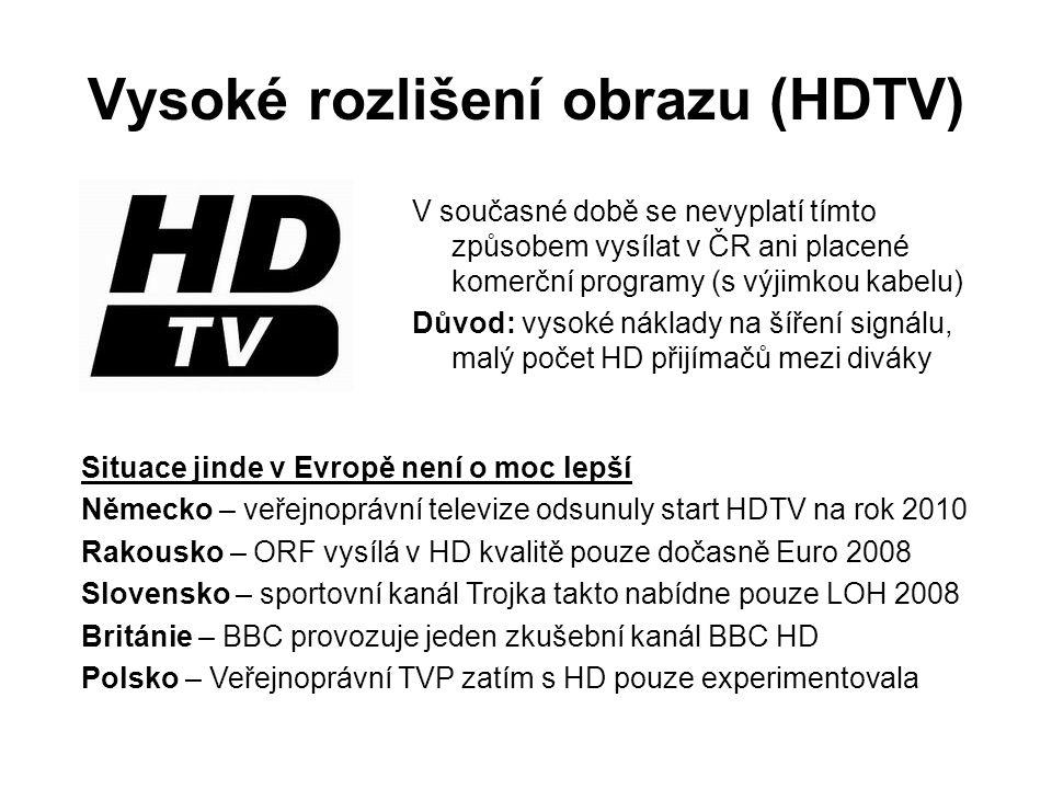Vysoké rozlišení obrazu (HDTV) V současné době se nevyplatí tímto způsobem vysílat v ČR ani placené komerční programy (s výjimkou kabelu) Důvod: vysoké náklady na šíření signálu, malý počet HD přijímačů mezi diváky Situace jinde v Evropě není o moc lepší Německo – veřejnoprávní televize odsunuly start HDTV na rok 2010 Rakousko – ORF vysílá v HD kvalitě pouze dočasně Euro 2008 Slovensko – sportovní kanál Trojka takto nabídne pouze LOH 2008 Británie – BBC provozuje jeden zkušební kanál BBC HD Polsko – Veřejnoprávní TVP zatím s HD pouze experimentovala