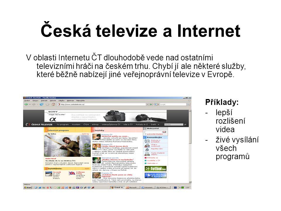Česká televize a Internet V oblasti Internetu ČT dlouhodobě vede nad ostatními televizními hráči na českém trhu.