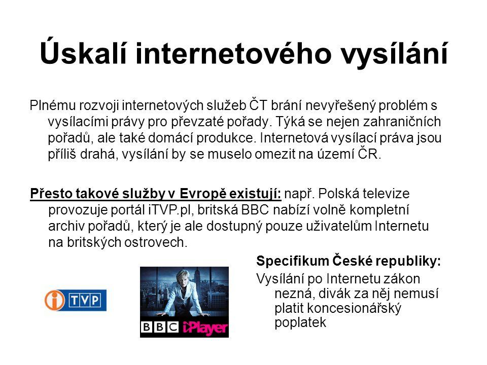 Úskalí internetového vysílání Plnému rozvoji internetových služeb ČT brání nevyřešený problém s vysílacími právy pro převzaté pořady.