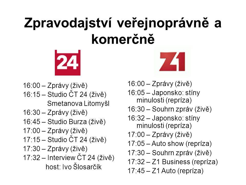16:00 – Zprávy (živě) 16:15 – Studio ČT 24 (živě) Smetanova Litomyšl 16:30 – Zprávy (živě) 16:45 – Studio Burza (živě) 17:00 – Zprávy (živě) 17:15 – Studio ČT 24 (živě) 17:30 – Zprávy (živě) 17:32 – Interview ČT 24 (živě) host: Ivo Šlosarčík Zpravodajství veřejnoprávně a komerčně 16:00 – Zprávy (živě) 16:05 – Japonsko: stíny minulosti (repríza) 16:30 – Souhrn zpráv (živě) 16:32 – Japonsko: stíny minulosti (repríza) 17:00 – Zprávy (živě) 17:05 – Auto show (repríza) 17:30 – Souhrn zpráv (živě) 17:32 – Z1 Business (repríza) 17:45 – Z1 Auto (repríza)